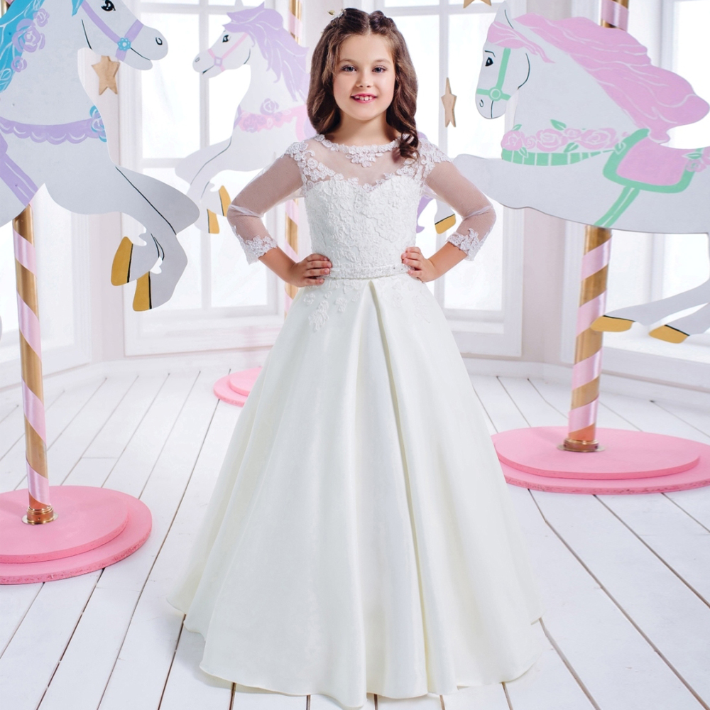 Pageant Dresses for Girls Glitz Sheer O-Neck Lace Up Long Sleeves Appliques First Communion Dresses for Girls Vestido De Daminha beige lace up design plain crew neck long sleeves sweatshirts