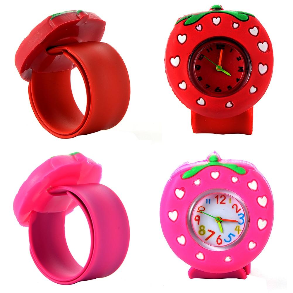 Children's Slap Watch 3D Cartoon Strawberry Quartz Wristwatch Fashion Lovely Silicone Band Kids Watch Cute Baby Clock Relogio