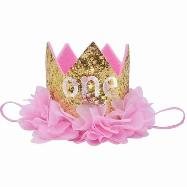 Baby Birthday Hat Newborn Flower Headdress Princess Baby Girls Crown Party Decorations Headband Boys Children Bling Hats Kids