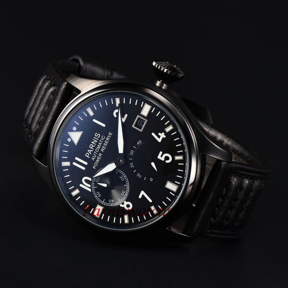 New Arrival 43mm Men Watch Black Parnis Power Reserve Watches Black Dial Sea-gull Automatic Movement Free Shipping