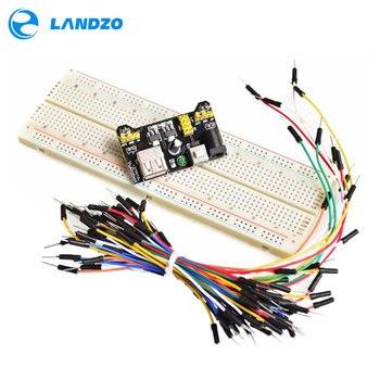 MB102 Placa de módulo de potencia + MB-102 830 puntos soldadura prototipo pan kit + 65 Flexible cables de puente