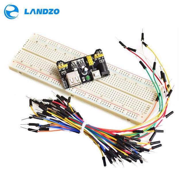 Placa de pruebas de potencia MB102 módulo + MB 102 kit de prototipo sin soldadura de 830 puntos + 65 cables de puente flexibles