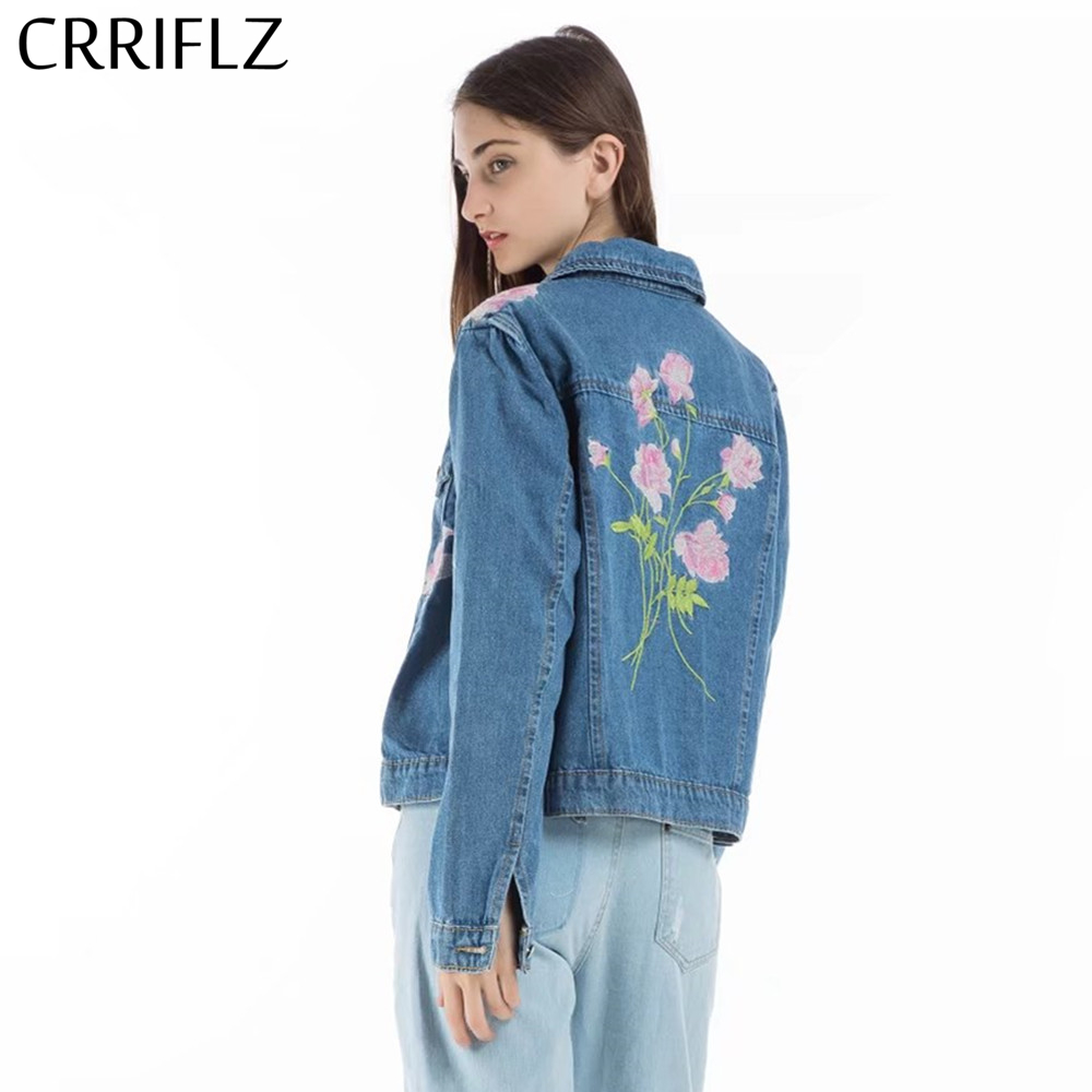 CRRIFLZ New Embroidery denim   jacket   coat Women spring autumn casual jeans outerwear coat Female winter   basic     jackets