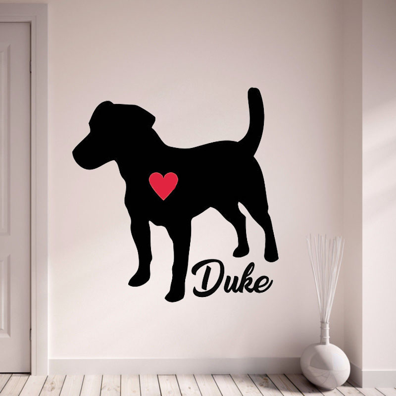 Jack Russell Terrier Wall Decal Personalize With Your Dog's Name Wall Sticker Pet Dog Home Decor With Red Heart Art Mural L141