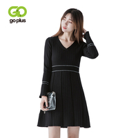 GOPLUS V Neck Knitted Women Dress 2019 Vintage Long Flare Sleeve Autumn Winter Striped Dresses Bodycon Sexy Mini Dress C6575