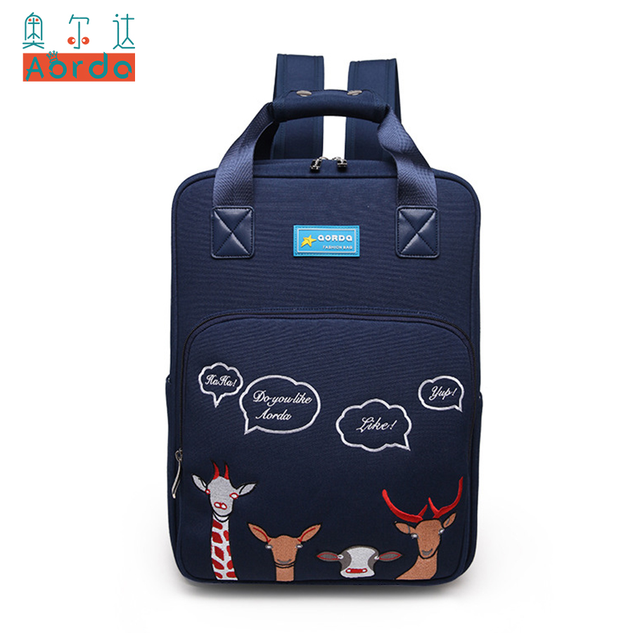 AORDA Women Backpack Korea Style Cartoon Animal School Backpacks For Teenage Girls Casual Travel Daypack Mochila Rucksack Bag zooler women s backpack eyes sequined designer black cartoon eyes backpacks travel bag cute shell backpacks for teenager girls