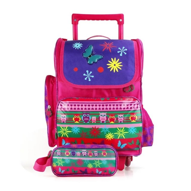 Cute Cartoon Kids Travel Trolley Backpack Wheels Girls Trolley School Bags  Children Travel luggage Rolling Bag School Backpacks 5e4931fd254a5
