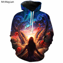 Hipster 2019 3D Hoodies Sweatshirts Men Octopus Jellyfish Sea World Print Hip Hop Pullovers Hoody Unisex Fashion Top Size 5XL