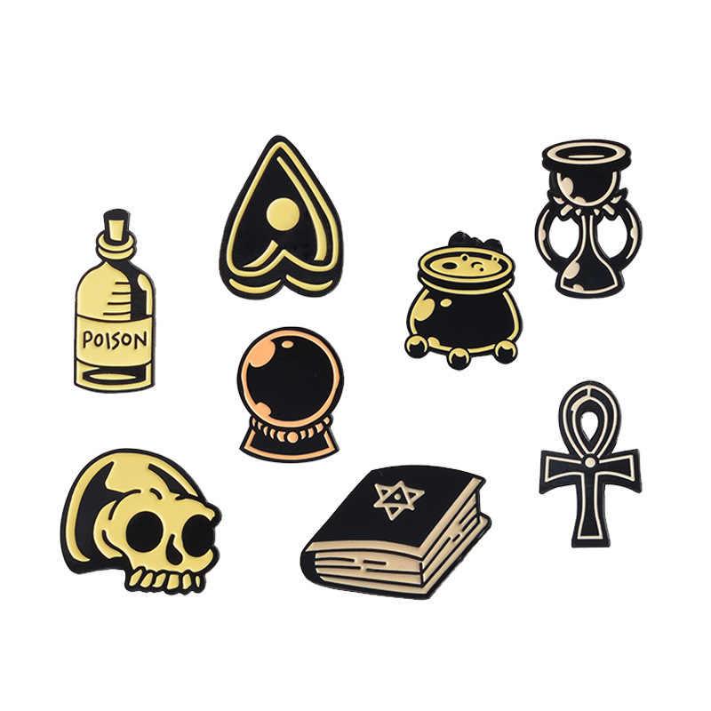 Halloween Buku Sihir Waktu Jam Pasir Bros untuk Bola Kristal Lencana Pin Tengkorak Perhiasan Jaket Jaket Aksesoris Gratis Pengiriman