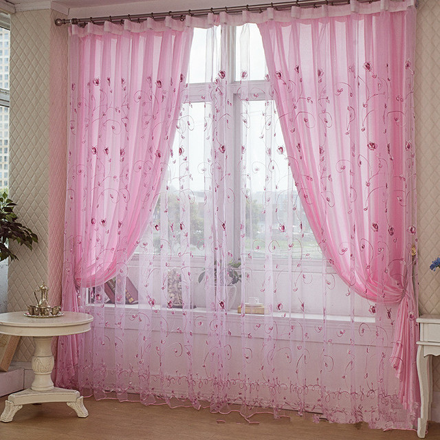 Modern Embroidered Sheer Curtains Design For Large Window Nice Voile Curtain  And Drapes For Outdoor Patio