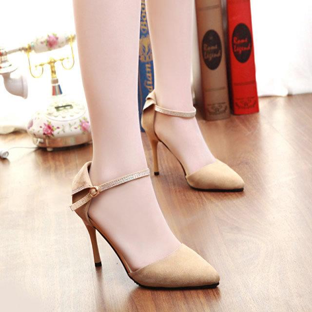 2015 otoño tacones finos zapatos de tacón alto cerrojo rhinestone sexy zapatos de dedo del pie acentuado solos zapatos femeninos del recorte de las mujeres sandalias