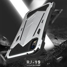 R-Just Metal Aluminum Protective Case For iPhone Xs X Dirt Shockproof Waterproof 3 in 1 Armor Case for iPhone XR Xs Max Coque