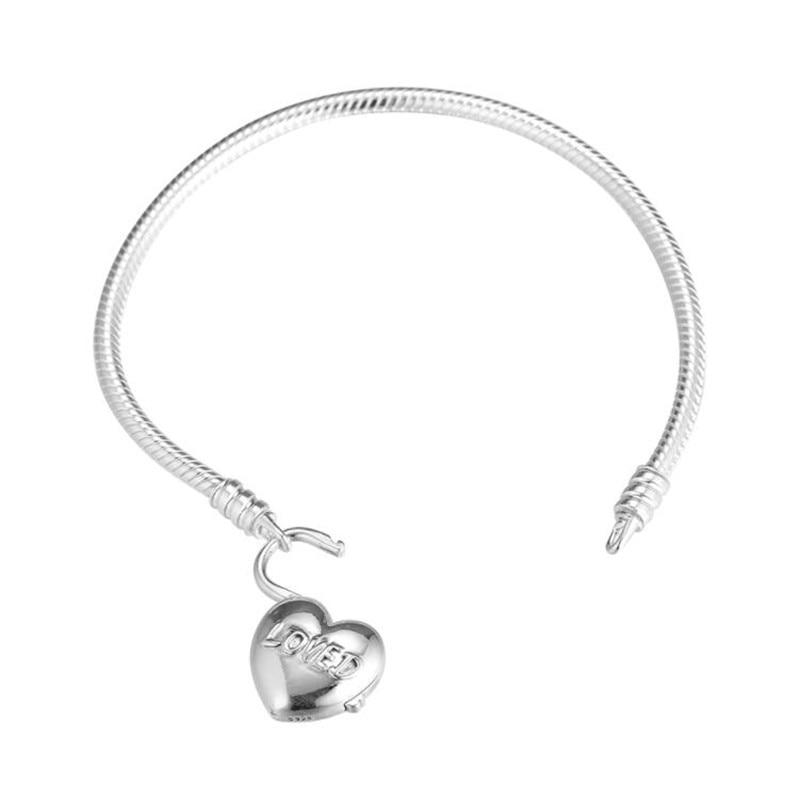 100% 925 argent Sterling vous êtes aimé coeur cadenas Bracelet à breloques Alphabet coeur serrure serpent chaîne Bracelet bijoux à bricoler soi-même femmes