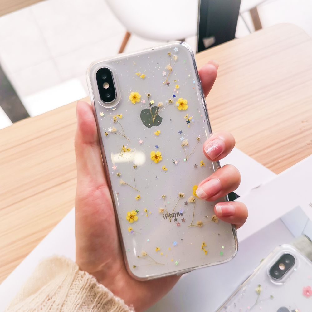 Real Flowers Dried Flowers Soft TPU Phone Case For iPhone 11 X XS XR XS Max 6 6S 7 8 Plus Transparent Bling beautiful Back Cover