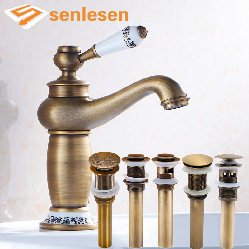 Bathroom Vanity Sink Faucet Ceramic Single Handle Antique Brass Basin Mixer Tap with Multiple Pop Up Drain