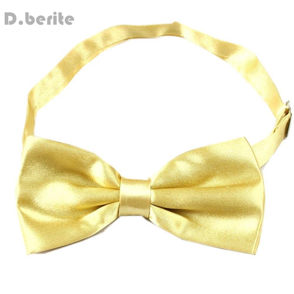 Tuxedo Men's Bowtie Adjustable Wedding Groom Party Satin Solid Gold Bow Tie BT04