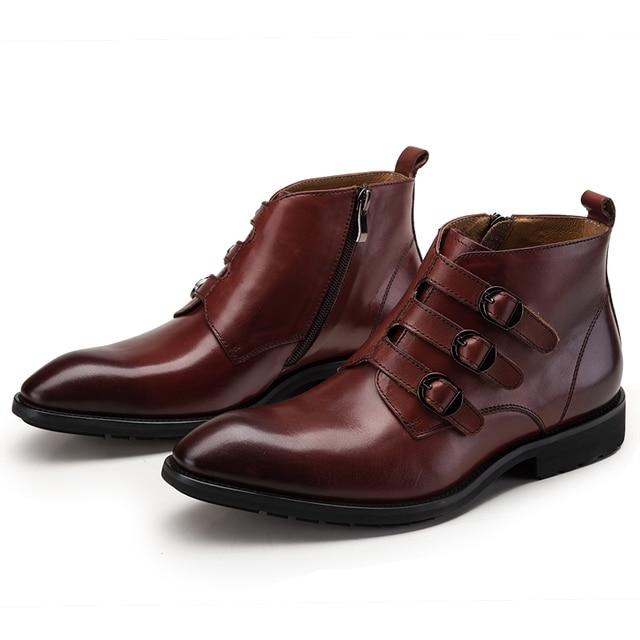 Мода черный/коричневый загар три пряжки лодыжки сапоги мужские повседневная обувь из натуральной кожи мотоциклов сапоги мужские открытый обувь