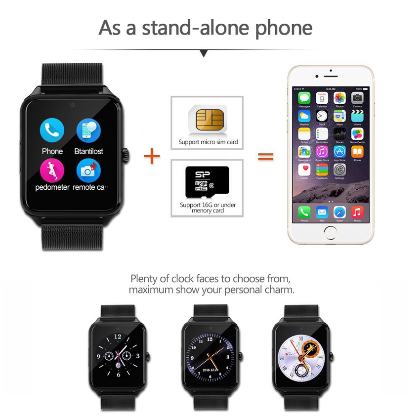 Smart Watch Z60 GT09 Men Women Bluetooth Wrist Smartwatch Support SIM/TF  Card Wristwatch For Apple Android Phone PK DZ09