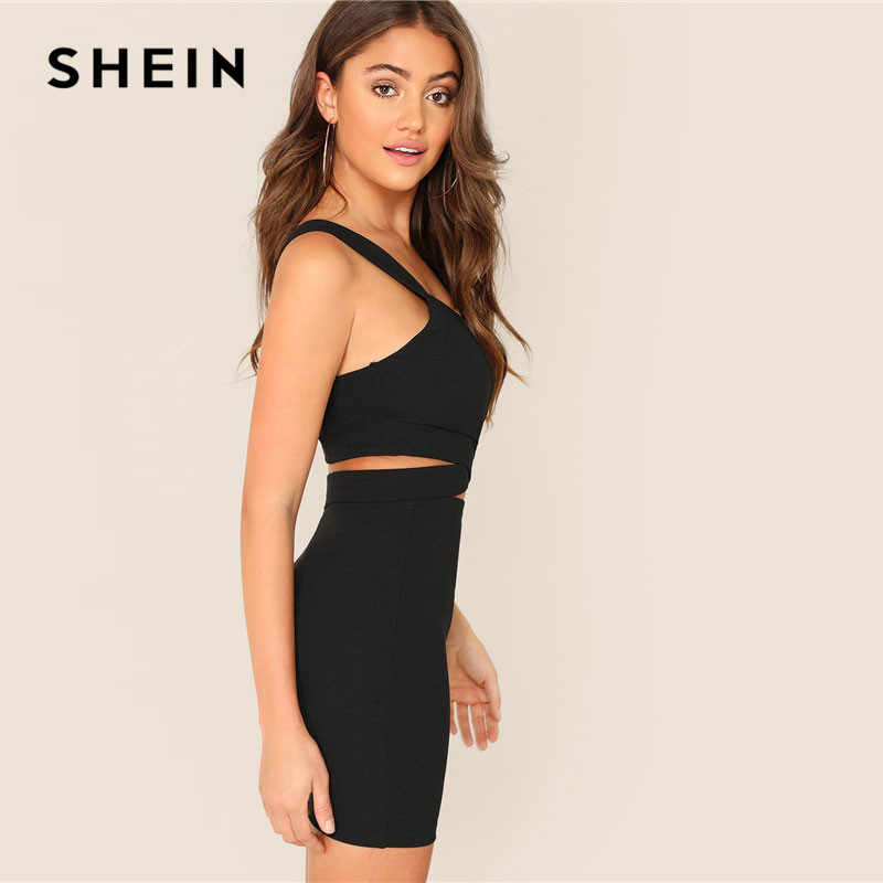 ec8990e9bd ... SHEIN Black Criss-Cross Slim Fitted Crop Tank Top And Skirt Set 2019  Summer Solid ...