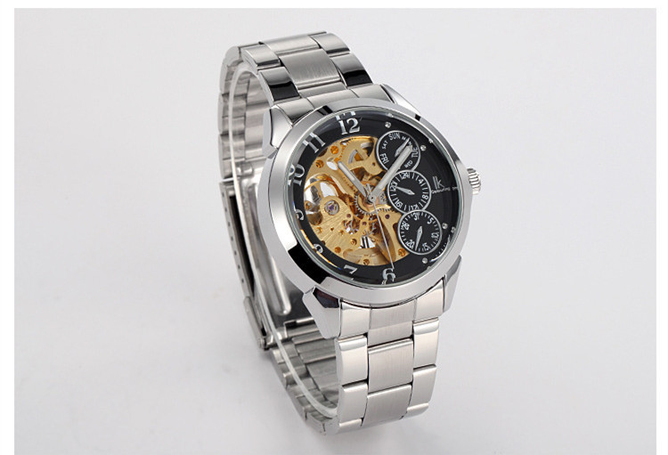Dress Style Multi-functional Stainless Steel Mechanical Analog Watch for Men Business Skeleton Timepiece Sapphire Relojes NW957