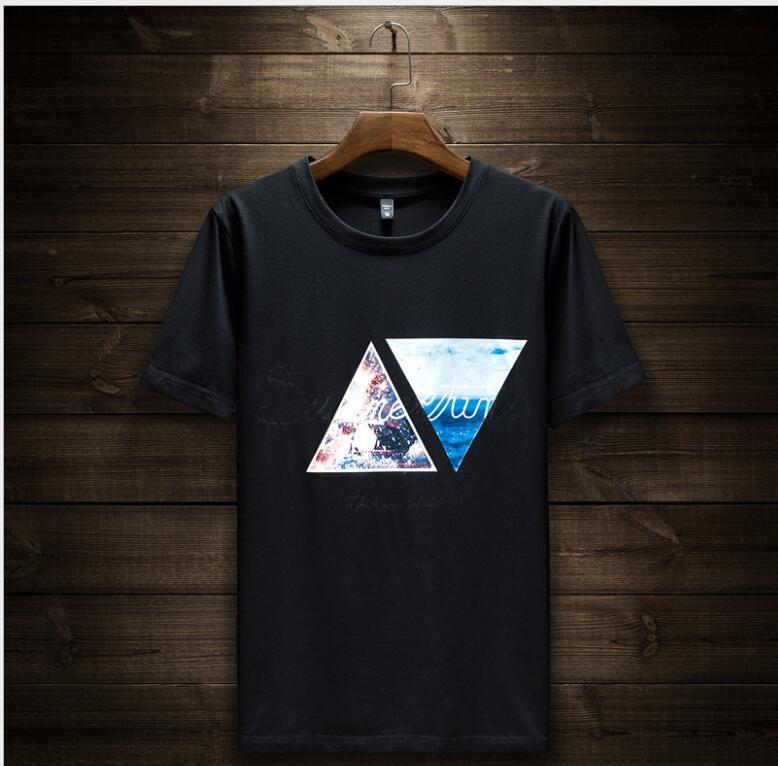 T - shirt summer Korean version of the trend men's bottom shirt round collar