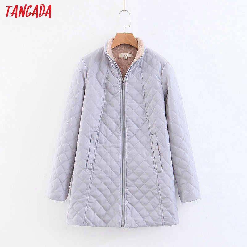 Tangada nữ dài đen parkas Plus kích thước cotton dày dặn, phối mùa đông lông dày XXL đứng ấm cổ nữ áo liền quần 2Z01
