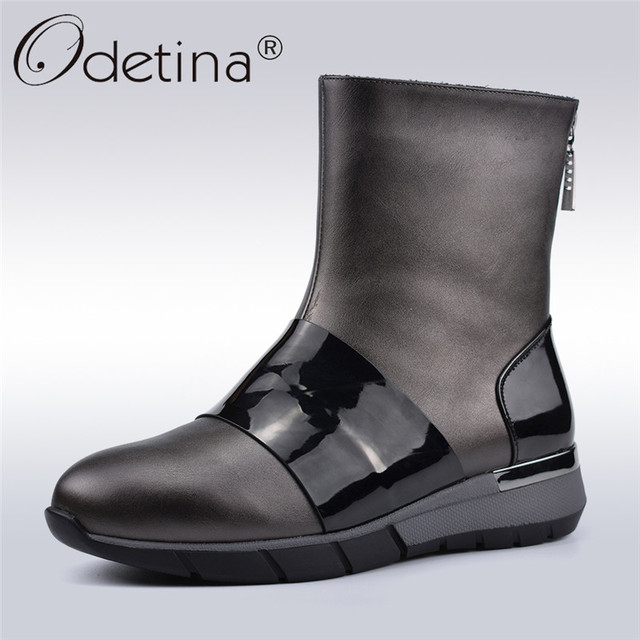 197c32a833f0 Odetina Winter Autumn New Fashion Ankle Boots Women Wedge Heels Side Zip  Round Toe Female Comfortable Casual Shoes Big Size 41