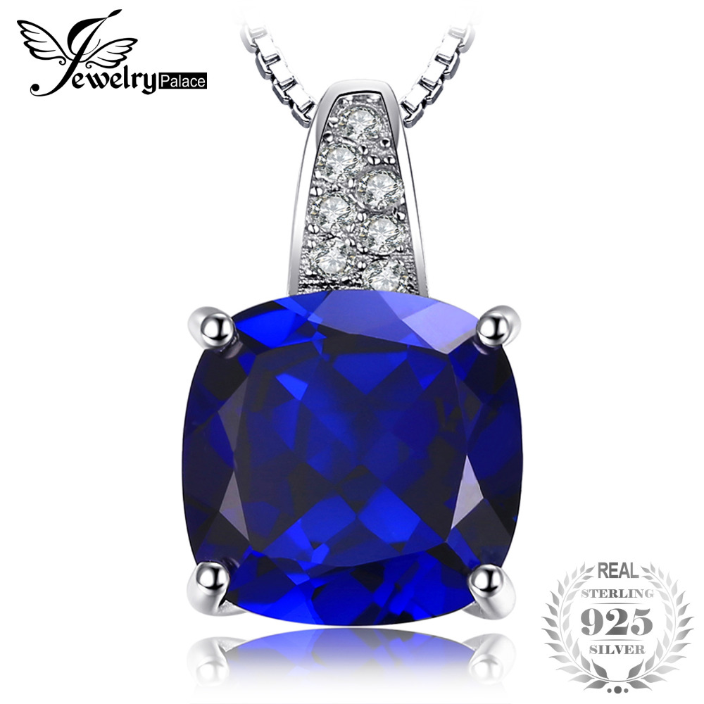 JewelryPalace 4.8 ct Cushion Cut Created Blue Sapphire Pendants For Women 925 Sterling Silver Fine Jewelry Fine Jewelry No Chain цена