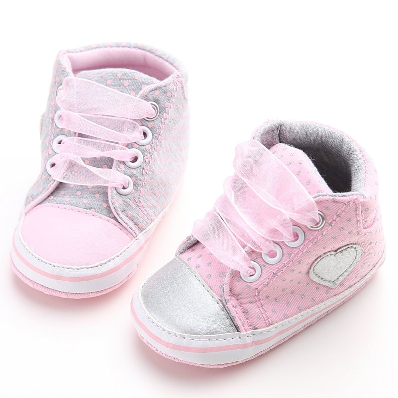 Newborn Baby Shoes Pink Polka Dot Cotton Soft Bottom Baby Girl Shoes Heart Shaped First Walkers Baby Shoes Wholesale Prewalker