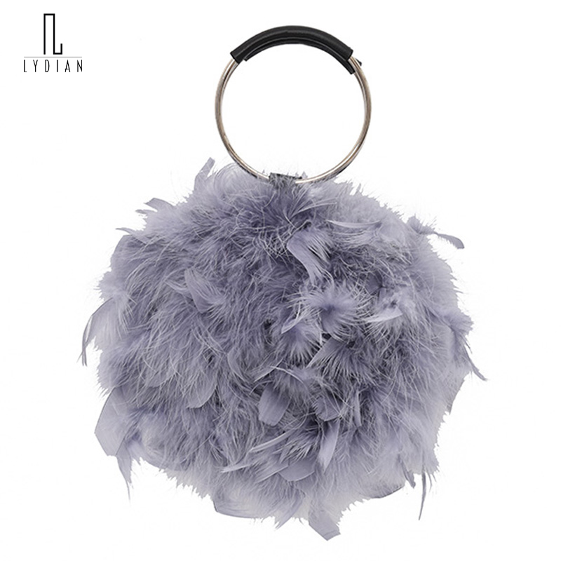 Lydian Womens Bags Brand Luxury 2018 Ostrich Feather Handbag Metal Purse Fashion Clutch Bag Chain Vintage Totes Schoudertas Dame