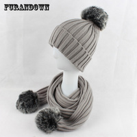 1562767dede4a 2017 Winter Warm Women Faux Fur Hat Scarf Set Two Fur Pompom Scarf Set Knitted  Beanie. US $18.80 US $13.16. 2017 hiver chaud femmes fausse fourrure chapeau  ...