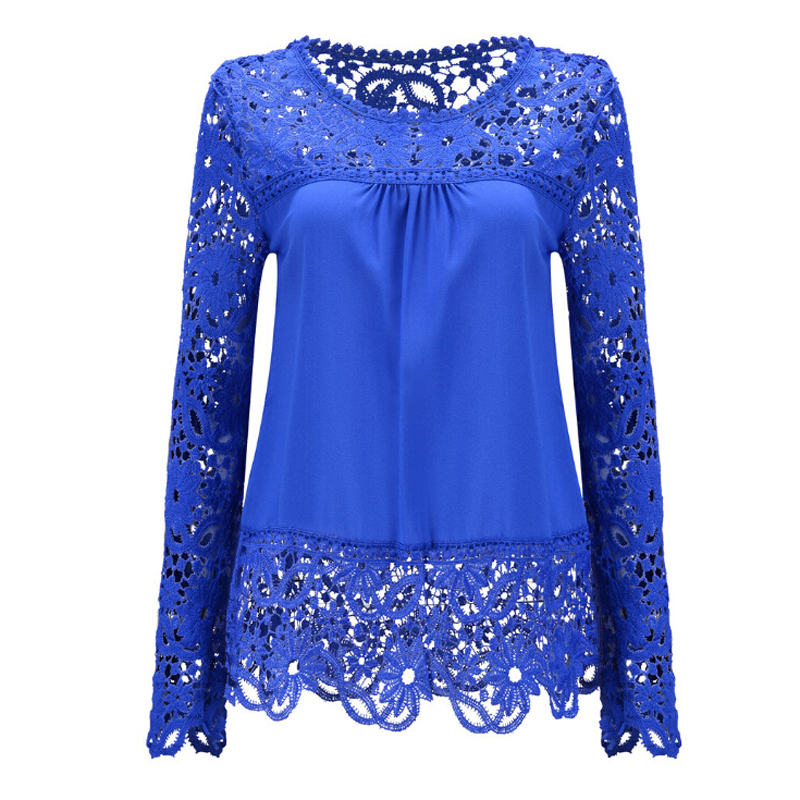 5XL Big Size Women Clothes Elegant Blouse Long Sleeve Crochet Lace Chiffon Blouses Shirt Casual O-Neck Hollow Tops Blusas - men left women right store