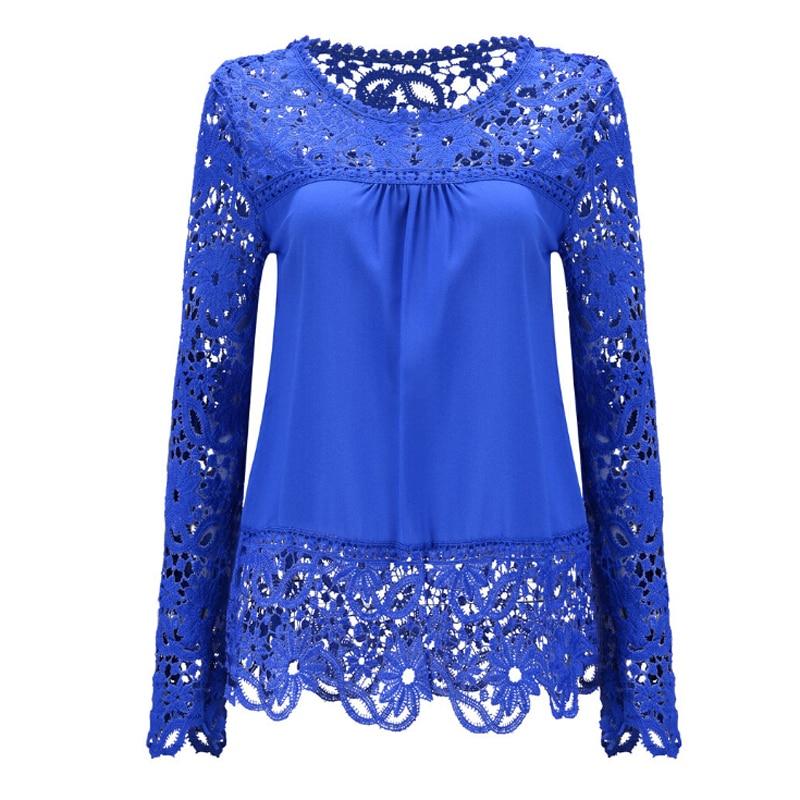 5XL Big Size Women Clothes Elegant Blouse Long Sleeve Crochet Lace Chiffon Blouses Shirt Casual O-Neck Hollow Tops Blusas  -  men left women right store