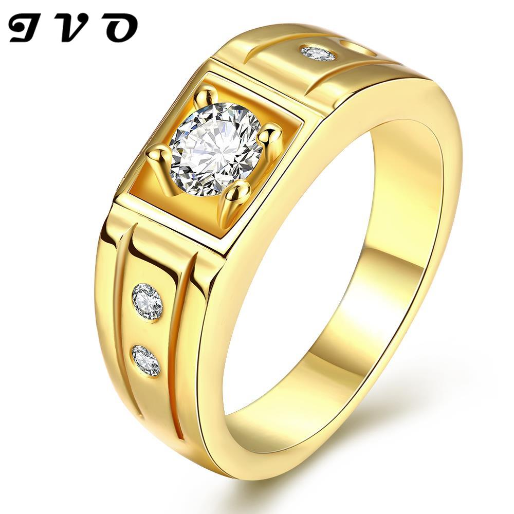 Punk Style Couples Wedding Bands Nickle Free Fashion Jewelry Pure Gold  Color Ring For Men Austrian