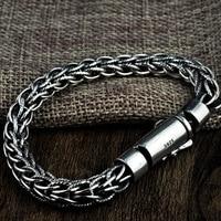 FNJ Tecelagem Corda Pulseira 925 Prata Largura 7.5mm Comprimento 19 cm a 21 cm de Arame Cadeia S925 Prata Pulseiras para Homens Originais jóias