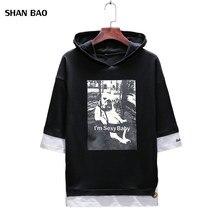 Hot Sale Mens T Shirt 2018 Summer New Fashion Print Hooded Short Sleeved T-Shirt Slim Fit Casual Top Tees Shirts 5XL
