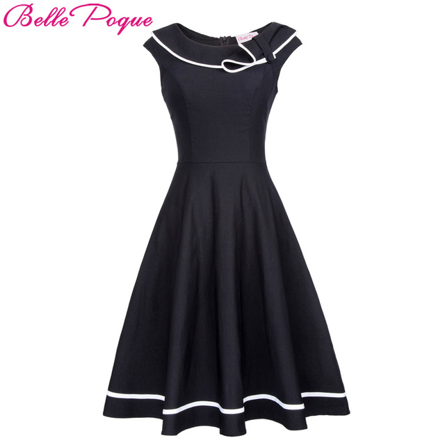 Belle Poque Women Vintage Rockabilly Dress 50s Nautical Sailor style Summer Retro  Black Dresses 2017 Woman Preppy Swing Dress bdc4a84c12