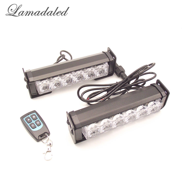 Lamadaled red white blue 3 colors in one remote control 2x6led car strobe lights bar wireless auto vehicle flash daytime light