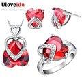 Conjuntos de jóias colar anel brincos coração uloveido prata banhado acessórios do casamento conjunto de jóias de noiva vermelho/roxo 2016 t086