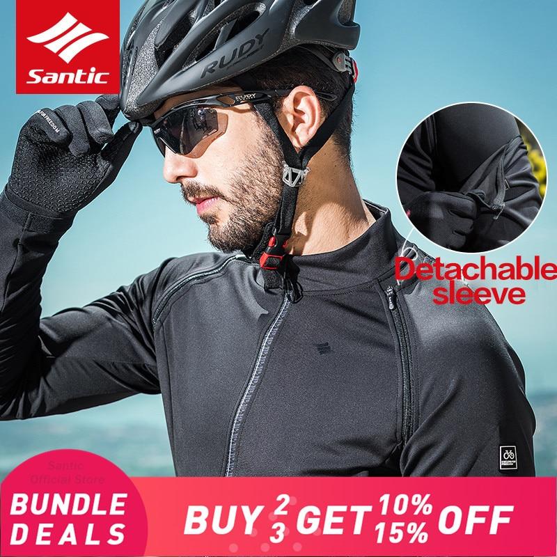 Santic Mens Cycling Jackets Keep Warm Cycling Windproof Jacket Coat Removable Sleeves Black Autumn Winter Asian