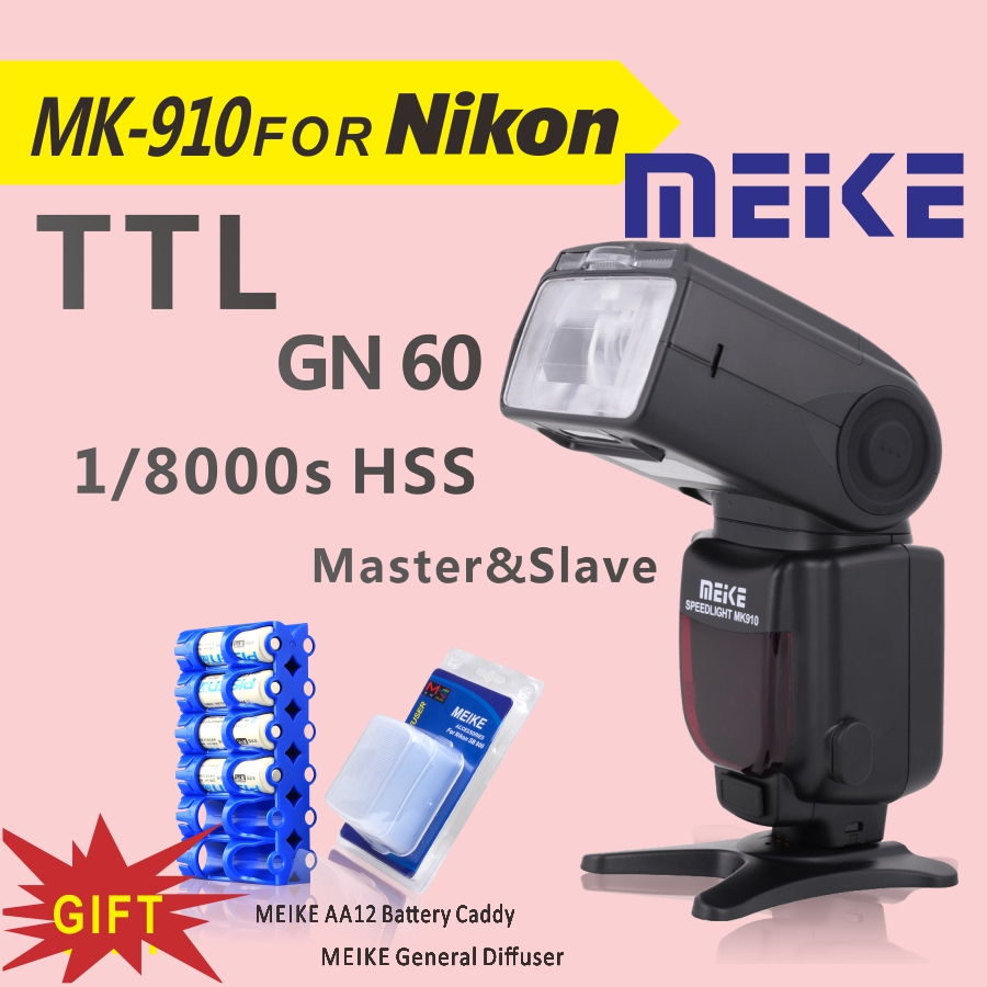 MEKE Meike MK 910 1/8000s sync TTL Camera Flash Speedlite for nikon d7100 d7000 d5100 d5000 d5200 d90 d70+Free GIFT meike mk d750 battery grip pack for nikon d750 dslr camera replacement mb d16 as en el15 battery