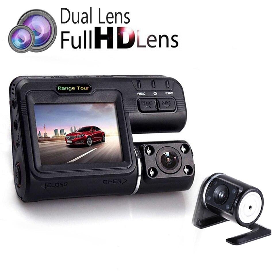 """imágenes para I1000S Lente Dual Del Coche Dvr Full HD 1080 P + Cámara de Vista Trasera 2.0 """"LCD Con 8 Luz LED de Visión Nocturna H.264 Dash Cam 140 grado"""