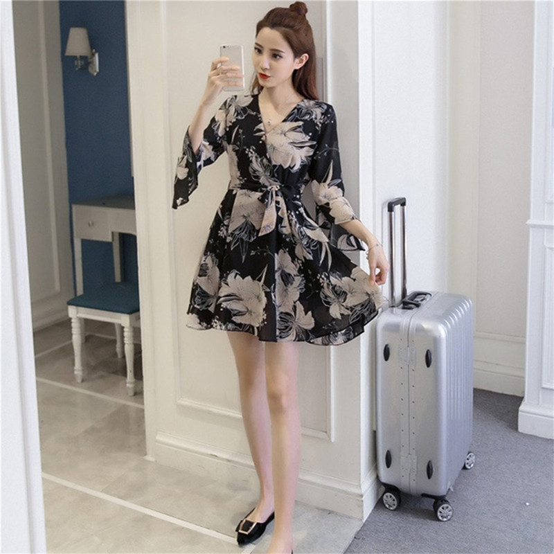 2017 Summer Fashionable Women Chiffon Floral Printed Dress Elegant Beautiful Lady V Neck Puff Sleeve Loose Dress For Party