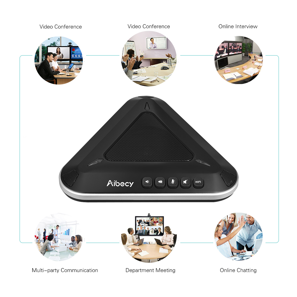 Aibecy MST-A1S USB Video Conference Microphone Speakerphone 360De Audio Pickup Support Skype MSN QQ for Computer Mobile Phone