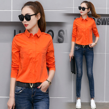 New Spring Women Shirts Single Breasted Solid Full Sleeve Slim 2017 Collar Short Model Blouse Shirt Orange White Rose 573