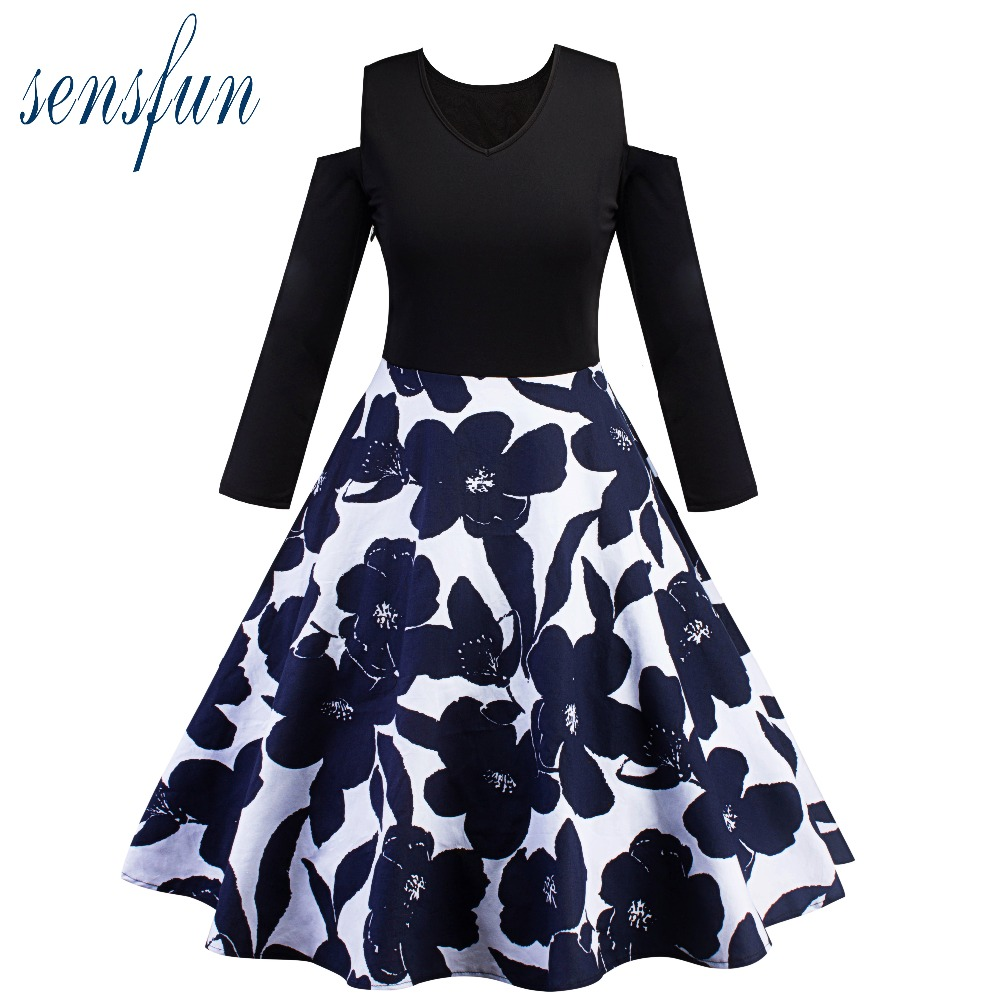 Sensfun 2017 Summer Dress Navy Women Cotton Hepburn Robe Vintage Dress Women Dresses Vestidos Retra Party Dresses Sundress