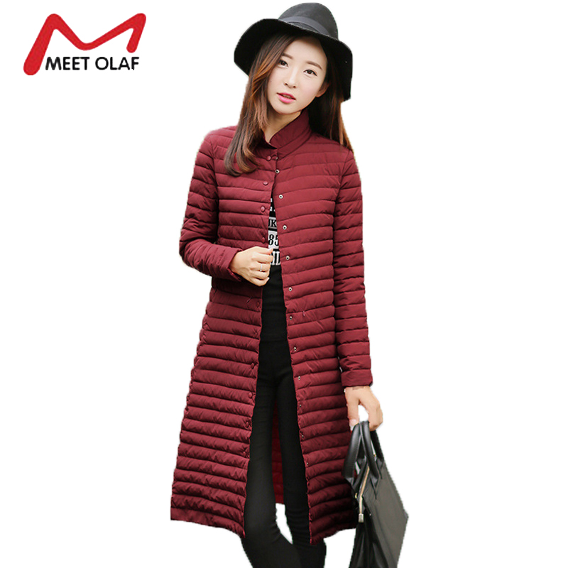 2017 Winter Down Jacket Women Long Winter Coats Female Stand Collar Single Buttons Parkas abrigos mujer invierno jaqueta Y1565