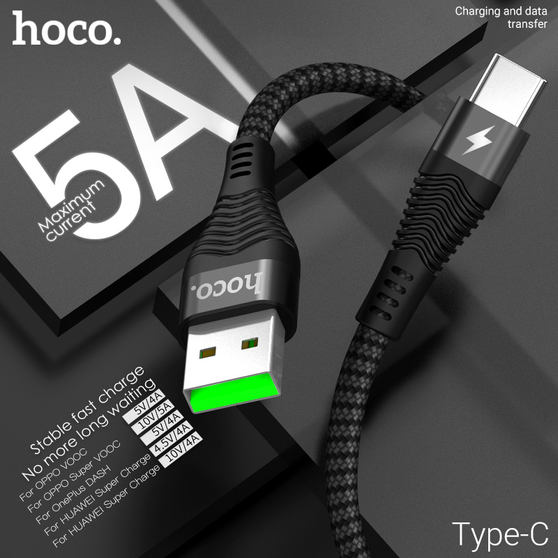 Hoco usb cabo para tipo c 5a carregador rápido carregamento fio usb c usbc tipo c cabo para samsung xiaomi huawei telefone móvel android