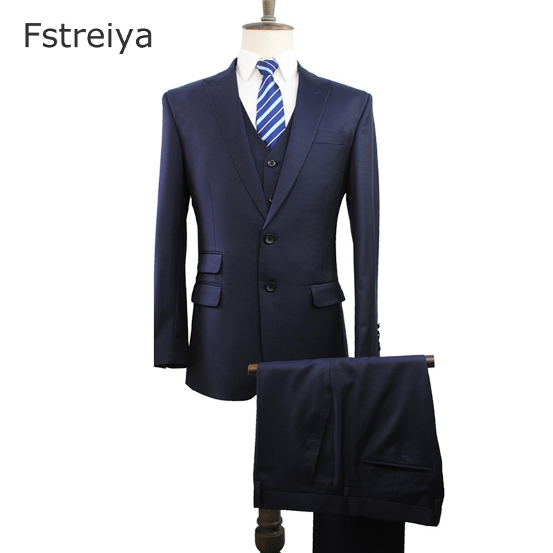 Custom Made Worsted 150's Wool Men Suits High Quality Tailor Slim Fit Wedding Suits Customized Men's Clothing 3 Piece Suit Vest