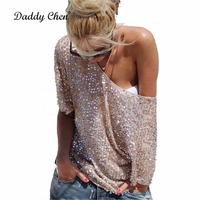 5XL Sexy Loose Off Shoulder Tops Sequin Glitter Women Blouses Fashion Spring White Female Casual Vintage